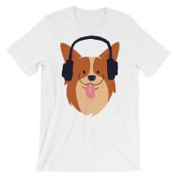 Cute Corgi is Listening The Music Short-Sleeve Unisex T-Shirt