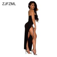 ZJFZML Lace Up Summer Dress Women Sexy Sleeveless Strapless Maxi Party Nightclub Dress Hollow Out High Side Split Bandage Dress