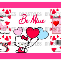 Valentine's Day Hello Kitty themed printable chip bag, DOWNLOAD ONLY