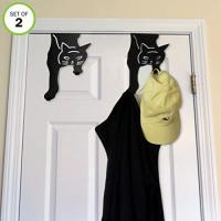 Kitty Cat Hook Hangers-Over The Door-Double-No Tool-Rust Free-Set of 2 - Tough-Lucky