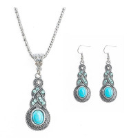 New Arrival Silver Color Fashion Jewellery Set Blue Resin