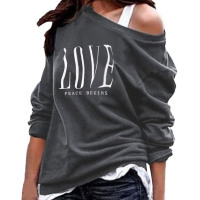 Womens  Letter Print Long Sleeve  Pullover Sweatshirts Loose Fit  Tops Blouses