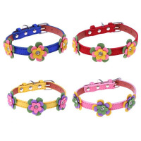 PU Leather Velvet Stylish Flowers Puppy Pet Dog Collars Necklaces Leash Accessories