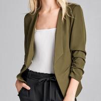 Ladies fashion 3/4 shirring sleeve open front woven jacket
