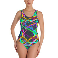 Womens Fashion Jean Fabric print Bathing Suit One-Piece Swimsuit