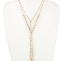 Double chain bead faux gem pendant necklace