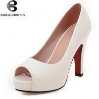 BONJOMARISA Elegant Solid Peep Toe High Heels