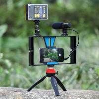 5PCS/SET Sport Camera  Video Rig+LED Studio Light+Cold Shoe Head+Microphone+Mini Tripod
