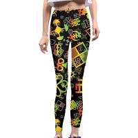 Adinkra Symbol Pattern Womens Yoga Pants - SYMBOL SCIENCE