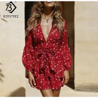 2019 Summer Sexy Ruffles Girl Dresses Flower Print Fashion V Neck Slim Empire With Belt Above Knee Mini Women Clothing D8D402I