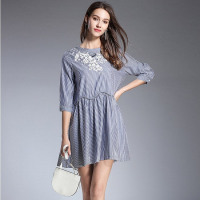 Floral Embroidery Striped Loose Mini Dress Women Elegant Sexy Sweet Office Party Fashion Beach Dress 2019 Spring Clothing
