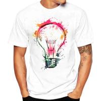 Men's Summer Fashion Bulb 3D Print tee