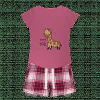 Howie the Giraffe Girls Sleepy Tee and Flannel Short - The Encouragimal Store