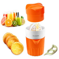 Orange Squeezer Manual Lid Rotation Press Reamer for Lemon Lime Grapefruit with Strainer and Container