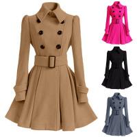 Winter Women Woolen Coat With Belt