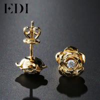 EDI Genuine Natural Diamond 14k 585 Yellow Gold Stud Earrings
