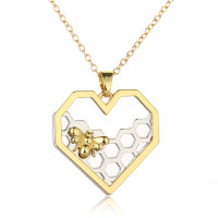 Heart Shaped Honeycomb and Bee Necklace