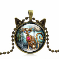 Mechanical Cat Cabochon Picture Pendant Chain Necklace Black, Brown or Silver