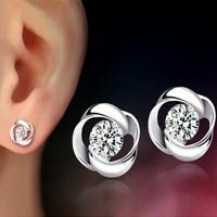 1Pair Beautiful Silvering Earrings Crystal Shiny