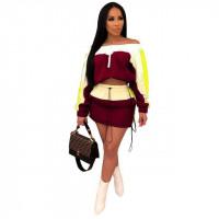 Two Toned Slash Neck Long Sleeve Crop Top & Bodycon Mini Skirt - fly-n-flashy-apparel