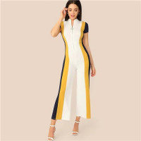 Stripe Jumpsuit W/ Wide Leg & Neck Zipper - fly-n-flashy-apparel