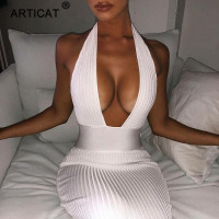 Articat Halter Backless Sexy Knitted Pencil White Off Shoulder Long Bodycon Party Dress
