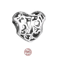 Motherly Love Heart .925 Sterling Silver Charm