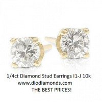 1/4 Carat Diamond Stud Earrings I1-J 10K Yellow Gold