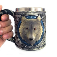 3D Wolf King Head Pattern Mug Retro Stainless Steel