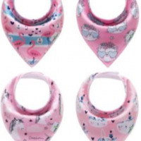Organic Cotton Pink Bandana Bibs Set