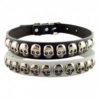 1PC Skull Studded Dog Collars Genuine Leather Pet Accessories Adjustable Leash For Medium Large Dogs Cats Pets