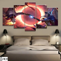 5 Panel League of Legends Xayah/Rakan Canvas Printed Painting | LOL Living Room Wall Art Decor | HD Picture | Artworks Poster