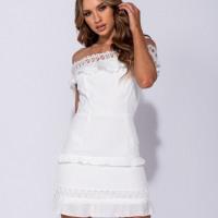 Lace Trim Frill Detail Mini Dress