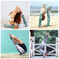 Blue And White Print Quick-Drying Leggings
