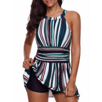 High Neck Striped Beach Dress