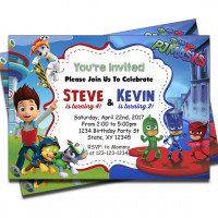 Paw Patrol and PJ Masks - Double Birthday Invitations - EvanBee