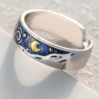 Van Gogh's Enamel Rings Glitter Deer Sky Gold Moon Star Canvas Finger Ring Romantic.
