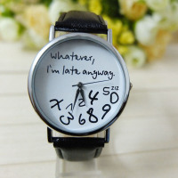 """""""Whatever I am Late Anyway""""  Leather Fresh New Wristwatch"""