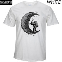 100% Cotton Digging The Moon Print Casual Mens O-Neck T-shirts Fashion Men's Tops