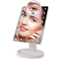 22 LED Light Touch Magnifier Makeup Mirror Adjustable - Arvicity