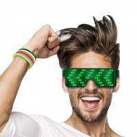 LED Glasses Grow Party Favor, USB Charging Glasses Rechargeable with LED Display, 8 Pattern Optional, Nightclub, Christmas, Birthday Party Supplies