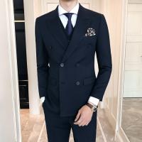 (Jackets+Vest+pants)2019 premium brand Fashion men autumn slim business suits/Male cotton groom's best man wedding dress Blazers