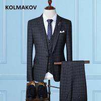 (Jacket+Vest+Pants)2019 Men's Suits Slim Fit Black Blazers Suits Business Casual Prom Suits For Men Fashion Luxury Suits Jackets