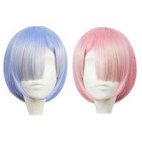 Graduated Color REM Cosplay Wig Or RAM Cosplay Wigs Re:Zero Starting Life In Another World Costume Play Halloween Costumes