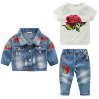 Girls Denim Coat T-Shirt and Jeans Outfit!