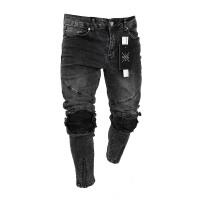 2019 Fashion Mens Black Jeans Streetwear Distressed Denim Pants Cotton Vintage HipHop Trousers HipHop Jeans