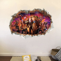 3D Wall Hole Stickers The Avengers Super Heroes PVC Decor Wall Mural Art Posters