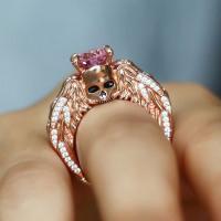 Creative Valentine Gift Ring kull Ring Rose Gold Diamond Ring
