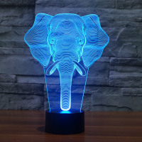 3D Elephant Illusion LED Night Light Decorative Lamp