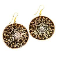 Sun Medallion Earrings - Golden - Matr Boomie (Jewelry)